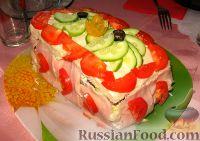 """Фото к рецепту: Бутербродный тортик """"Мясной"""""""