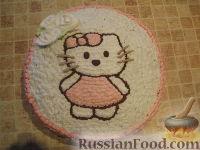 Фото к рецепту: МК Торт творожный с Китти (разукрашка пошагово)