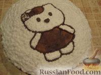 Фото приготовления рецепта: МК Торт творожный с Китти (разукрашка пошагово) - шаг №13