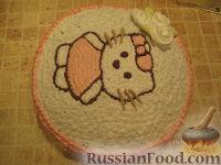 Фото приготовления рецепта: МК Торт творожный с Китти (разукрашка пошагово) - шаг №16
