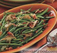 Фото к рецепту: Стручковая фасоль с грибами, луком и беконом