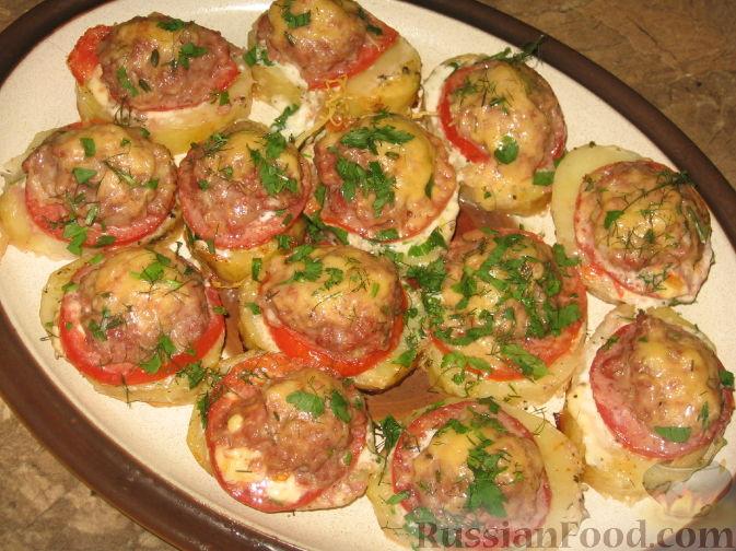 запеченная картошка с помидорами в духовке рецепт с фото