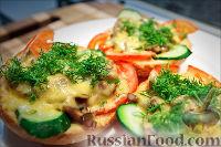 Фото к рецепту: Холостяцкий ужин № 9. Горячие бутерброды с грибами под сыром