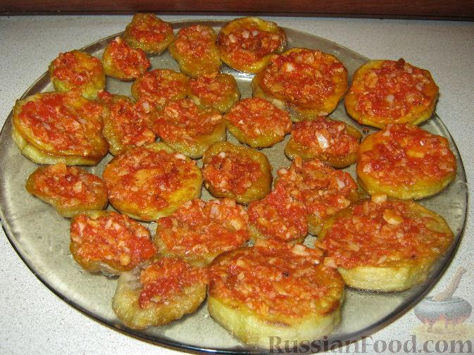 жареные баклажаны с помидорами с фото
