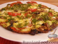 Фото приготовления рецепта: Овощной омлет с грибами - шаг №6
