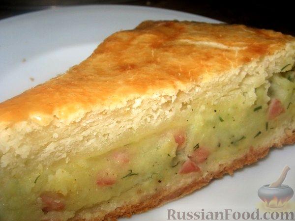 Фото к рецепту Пирог с картофелем и ветчиной.