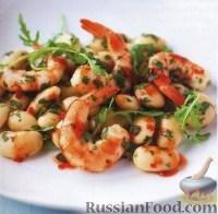 Фото к рецепту: Острые креветки с фасолью и лаймом