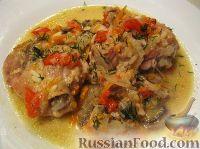 Фото к рецепту: Курица с грибами и овощами в сметане