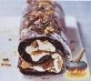 Фото к рецепту: Шоколадный рулет со сливками и амаретти