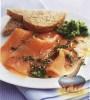 Фото к рецепту: Копченая семга под горчично-укропным соусом
