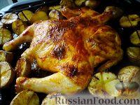 рецепт приготовления курицы с картошкой в духовке.