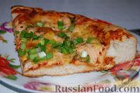 Фото к рецепту: Пицца с лососем, оливками и зеленью