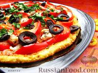 Фото к рецепту: Пицца на творожно-ржаном тесте (диет-вариант)