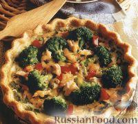 Фото к рецепту: Открытый пирог с брокколи и тунцом