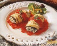 Фото к рецепту: Баклажановые рулеты с сырной начинкой